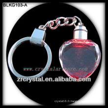 Porte-clés en cristal de coeur blanc pour la gravure laser 3D BLKG103-A