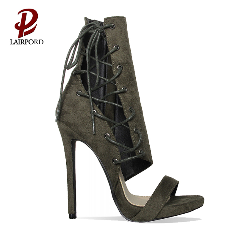 new design black pu ankle high heels