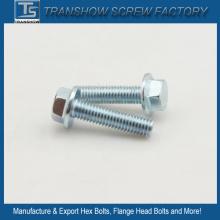 Tornillo de brida hexagonal galvanizado acero C1035 grado 8.8