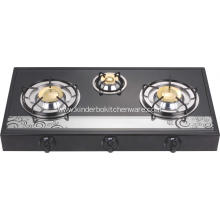 3 Burner Mirror Glass Top Brass Burner Europe Stove