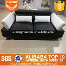 most popular European style 2 seater black white leather sofa buy from China