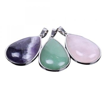 Natural Gemstone & Crystal Steel Stainess Waterdrop Pendant 47x25x8mm