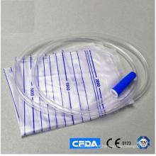 Saco de drenagem de urina de plástico 2000ml com braçadeira líquida