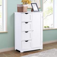 Bathroom Floor Cabinet Wooden with 1 Door & 4 Drawer, Free Standing Wooden Entryway Cupboard Spacesaver Cabinet, White