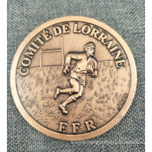 Custom Die Casting Antique Copper Sport Running Coin