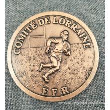 O costume morre moeda running do esporte de cobre antigo da carcaça