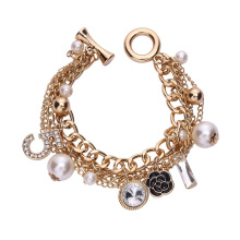 Korean multi-layer pearl bracelets small flower number 5 European and American style heavy metal chain jewelry