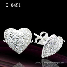 Heart-Shaped 925 Sterling Silver Earrings (Q-0481)