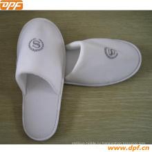Вафельный открытым носком унисекс тапочки Cottonage (Белый)