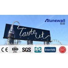 2M ancho 4mm negro brillante Panel compuesto de aluminio letrero direccional / impresión publicitaria