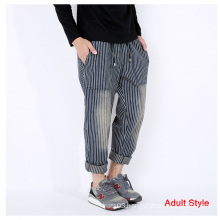 Family Stripe Denim Pant Ankle Banded Pants