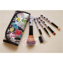 5PCS Travel Cosmetic Brush with a Colorful Cloth Bag