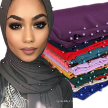 Top selling Trend women nice good color hot item printed scarf pearl chiffon stone muslim hijab