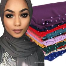 Топ продажа женщины тенденция приятная хороший цвет горячий пункт печати шарф шифон жемчуг камень мусульманский хиджаб