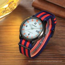 Мода ткань наручные часы 42мм корпус ремешок из ткани