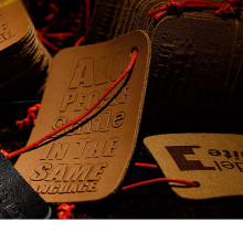 Low price of embossing leather patches for promotion