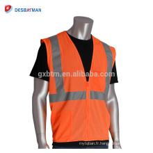 100% polyester maille respirante réfléchissante gilet de sécurité de haute qualité classe 2 orange sécurité gilet avec 2 poches pour les travailleurs