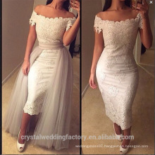 2017 Off the Shoulder Appliques Lace Wedding Gown Sequins Detachable Skirt Ankle Length Bridal Dresses MW2211