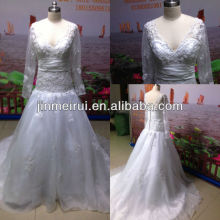 Actual images a line v neckline applique court train organza long sleeve wedding dress gown JWD005