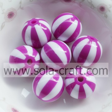 20MM 500Pcs China Alibaba Wholesale Spacer Loose Charm Purple Amethyst Striped Round Watermelon Resin Round Beads For Jewelry Ma