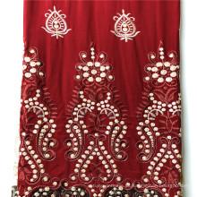 Rayón personalizado satinado liso teñido con vestido de bordado
