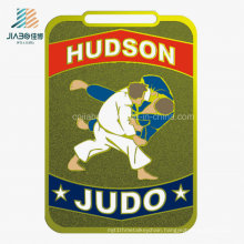 Jiabo Supply Zinc Alloy Custom Souvenir Trophy Metal Gold Sport Enamel Judo Medal with Ribbon