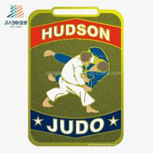 Jiabo Поставка сплава цинка изготовленный на заказ сувенир трофей металл золото эмали спорта по дзюдо медаль с лентой