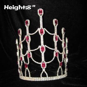 8 pulgadas de altura Diamante rosa Cristal Concurso Coronas de reina