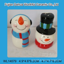 Lovely cerâmica snowman sal e pimenta shakers
