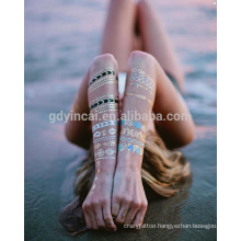 2017 Fashion Watertransfer Customized Jewelry Gold Silver Foil Metallic Body Sticker