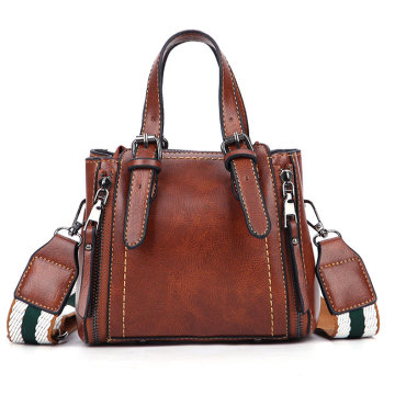 Moda Cor Marrom PU Leather Lady Bag