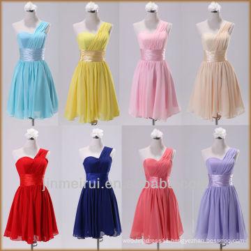 real photo design-short-dress-the-bride-wedding-dress-fashion-one shoulder knee length short cheap bridesmaid dress sales DB103