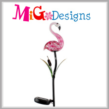 Hot Flamingos Glass Lamp Solar Garden Metal Stakes