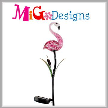 Hot Flamingos Glass Lamp Solar Garden Metal Stakes