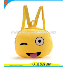 Hot Quality Funny Cute Emoji Face Mochila Saco Plush Phone Bag para Lady