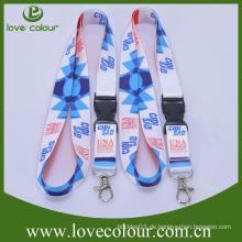 Heißer Verkaufs-kundenspezifischer Entwurf preiswertester Polyester-Ansatz-Abzuglinie-Bügel mit Drucken-Firmenzeichen