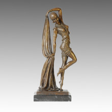 Dancer Bronze Sculpture Pretty Girl Deco Brass Statue TPE-361
