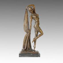 Танцовщица Бронзовая скульптура Pretty Girl Deco Латунная статуя TPE-361