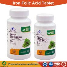 Mejores tabletas de hierro ácido fólico para las mujeres embarazadas OEM suplemento tableta