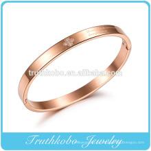 estilo clássico amor aço inoxidável pulseiras de ouro rosa com cristal