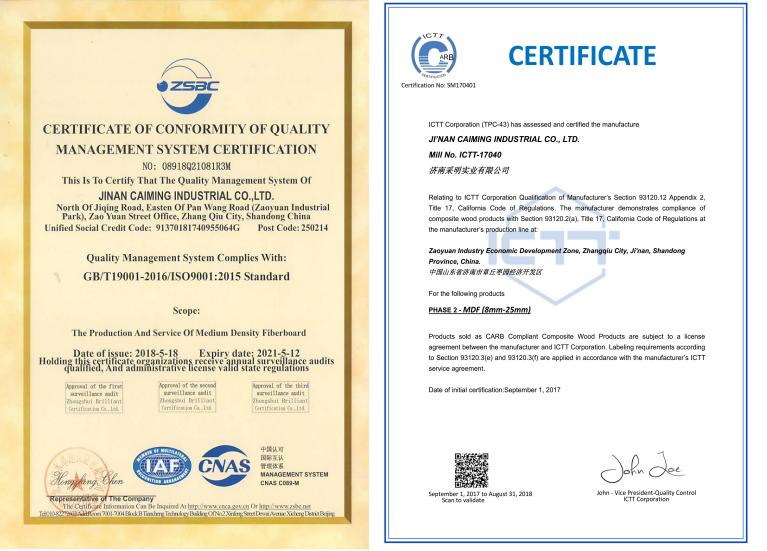 Laminate Flooring Certificate