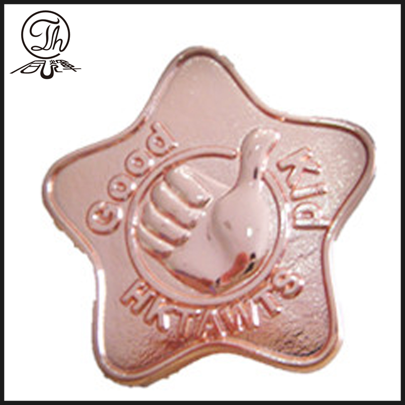 Rose gold star badge pin metal