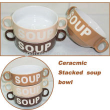 2013 NOUVEAU Bol de soupe empilé en céramique de 4.29 pouces pour BS130515A