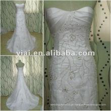 JJ2682 Vestido de noiva de bordado de sereia de trem longo de alta qualidade 2012