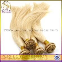 trama rubia del pelo brasileño, extensión del pelo de la extensión del pelo humano 100