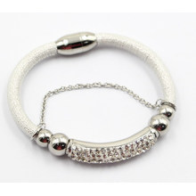 High Quality Fashion Jewelry Leather Bracelet with Stainless Steel Charms