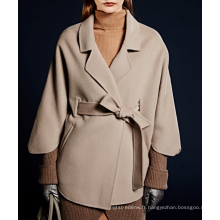 17PKCSC023 femmes double couche 100% manteau de laine de cachemire