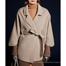 17PKCSC023 mulheres dupla camada 100% casaco de lã de caxemira