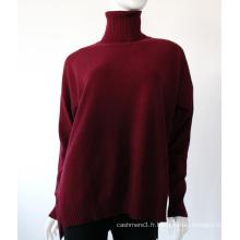 Top Pull à col roulé plissé de couleur unie rouge surdimensionné Pull en cachemire Femme