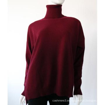 Top llano rojo color doblado cuello alto jersey de gran tamaño suéter de cachemira mujeres